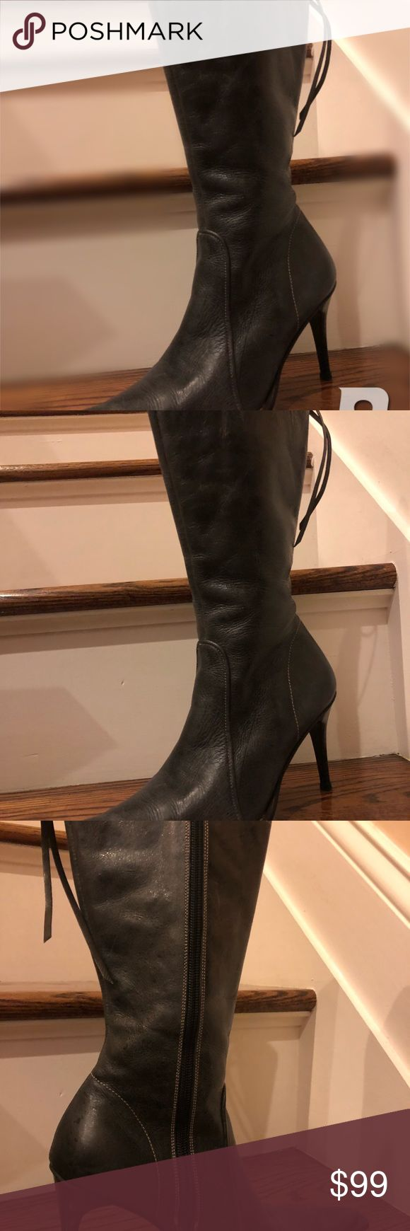 Colombian dark gray leather boots 👢 size 36 Gorgeous dark gray pointy toe western style leather 👢 bosi Shoes Heeled Boots