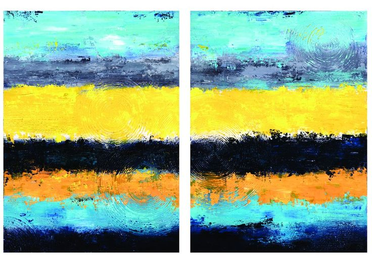 """Juxtaposed"" 2-Panel Acrylic on Canvas"