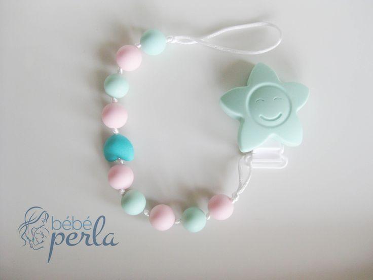 Silicone Pacifier clip - Twinkle Flower Lola www.bebeperla.com