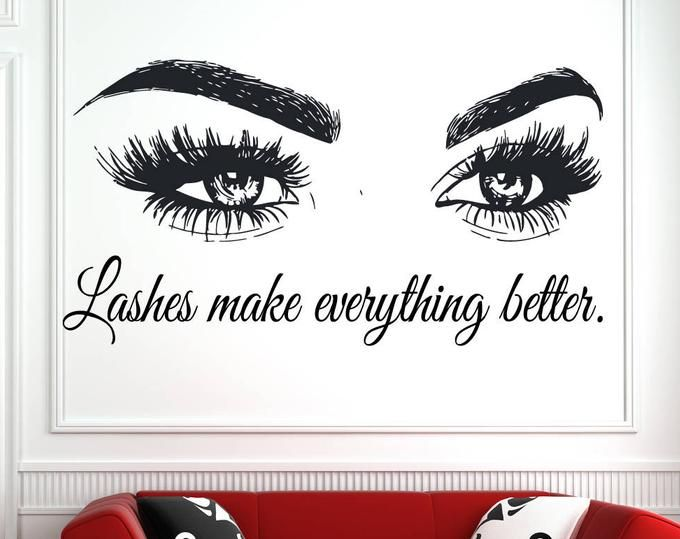 Wall Art Sticker Eyelashes Lashes Extension Decal Beauty Salon Quote Eye Eyebrow