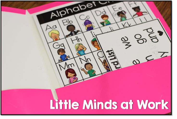 sight word list and letter chart in writing folders.