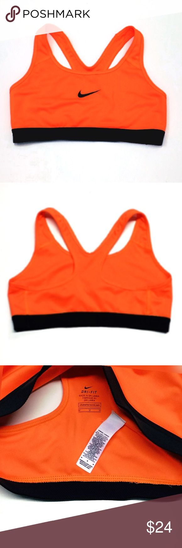NIKE Dri-Fit Fluorescent Orange Sports BRA BRAND NEW!! Awesome FLUORESCENT Bright ORANGE-Neon Orange Color!! Size: M Nike Intimates & Sleepwear Bras