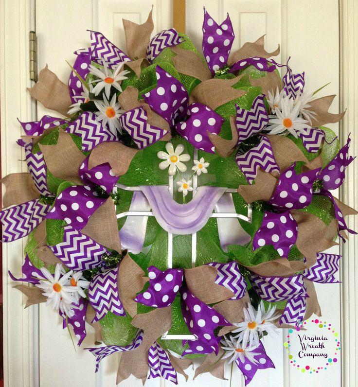 Easter Cross Deco Mesh Wreath