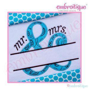 Font Frames - Ampersand Mr and Mrs Applique Split Name Frame - Large on sale now at Embroitique!