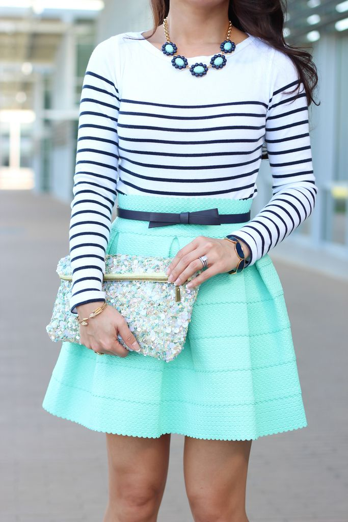 STRIPES & mint! And I love the tiny scallops on the bottom of the skirt. The sparkly clutch & bow belt are perfect finishing touches.