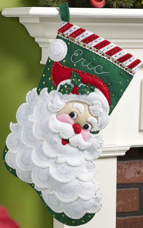 May 2015 Bucilla Stocking Kit - on sale at MerryStockings soon. Kit is entitled Jolly St. Nick.