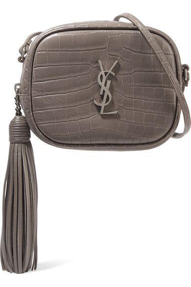 SAINT LAURENT Monogramme Blogger croc-effect leather shoulder bag