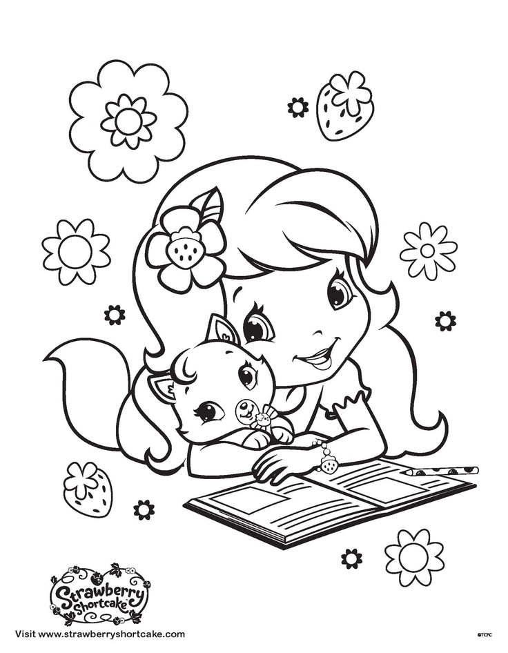 Strawberry shortcake and custard coloring page for Strawberry short cake coloring pages