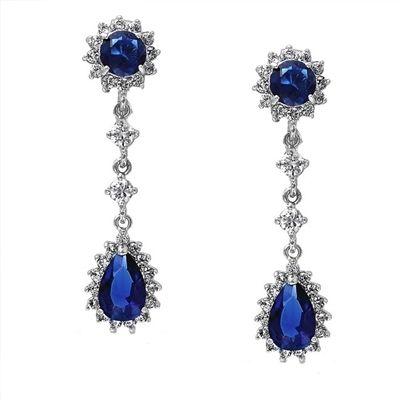 Majestic Sapphire Blue Cubic Zirconia Dangle Drop Earrings