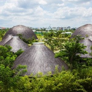 Vo+Trong+Nghia+creates+bamboo+and+thatch+domes+for+Diamond+Island+Community+Centre
