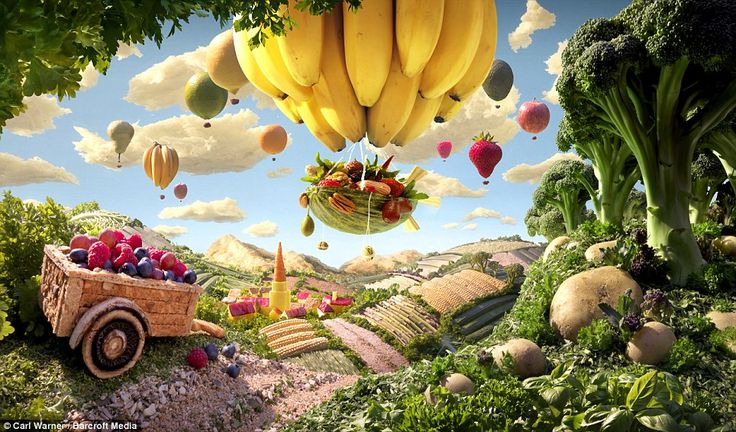 Cart and Banana Balloon: Lush countryside is depicted here along with a banana hot air balloon in the foreground, with other fruits doing a ...