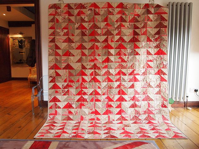 Flying Geese variation made with fabrics from the French General line