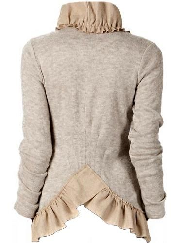 Back of the Fanned Ruffled Cardigan (I love the stand up collar, and the detailing on the back to make it fitted.) http://traffurl.com/?g/2QANxSL