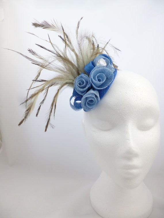 Fascinator hat cornflower blue royal blue by SpiritofHarlequin