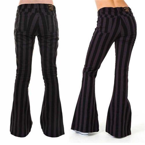 Flare jeans gestreepte unisex broek met wijde pijpen zwart/grijs - Indie Retro 60's 70's