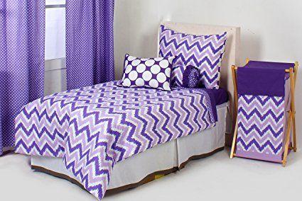 Bacati Mix and Match Zigzag/Dots 3 Piece Toddler Bed Sheet Set, Purple