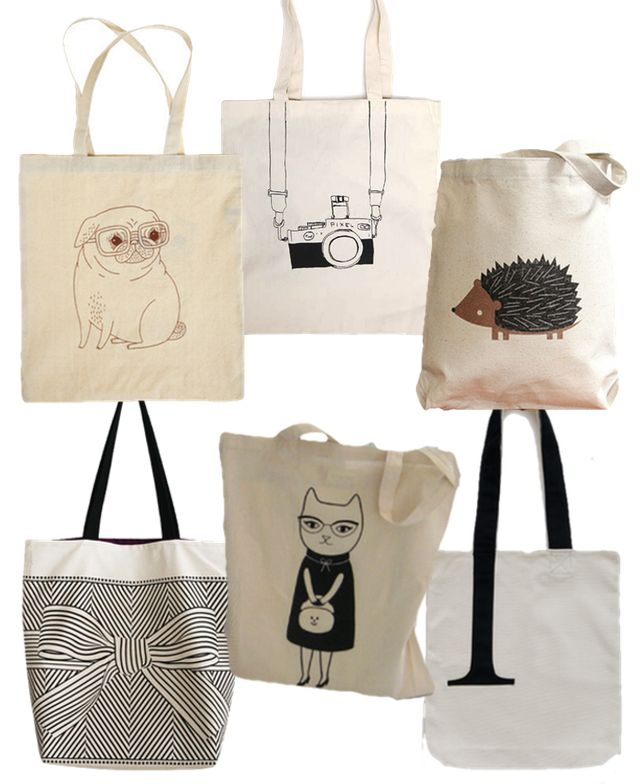 tote bags to die for and to make you want to learn to print on fabric immediately!