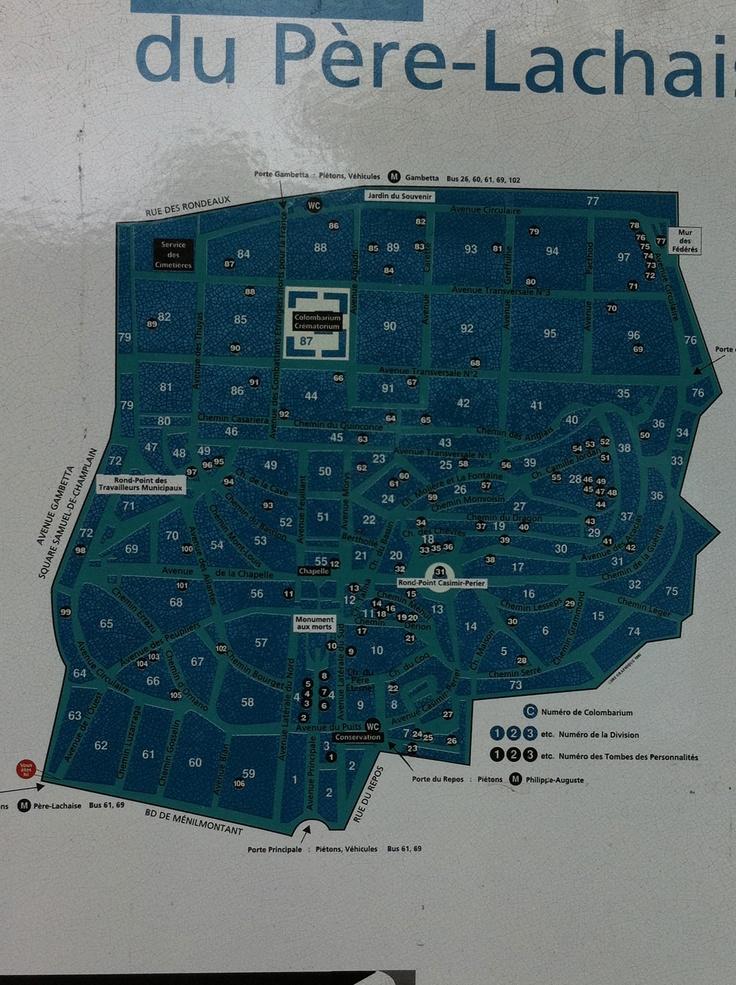 Plano del cementerio Pére-Lachais en Paris, para planificar bien la visita