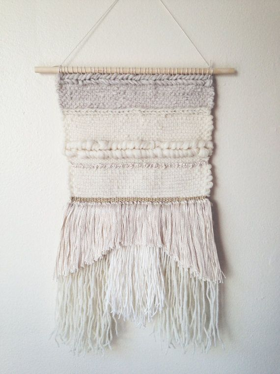 Woven tapestry white neutral wall hanging modern by WallandWoven, $110.00