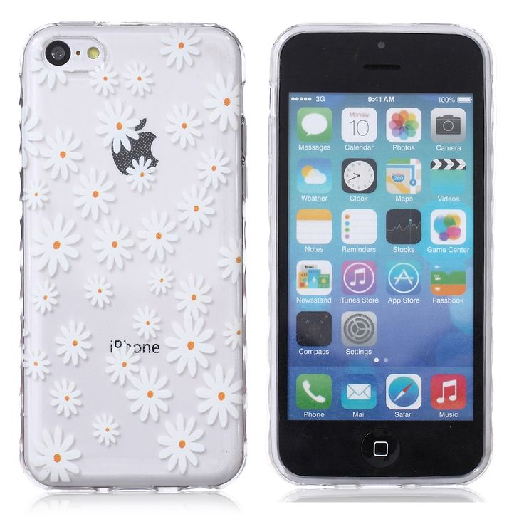For iPhone 5c TPU Case Yellow Daisy Painted Non-slip TPU Back Cover for iPhone 5c FREE SHIPPING