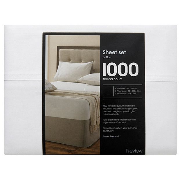 1000 Thread Count Cotton Sheet Set - White | Target Australia