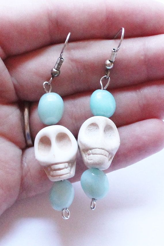 Vintage Carved White Turquoise Skull Dangle or Drop by paststore