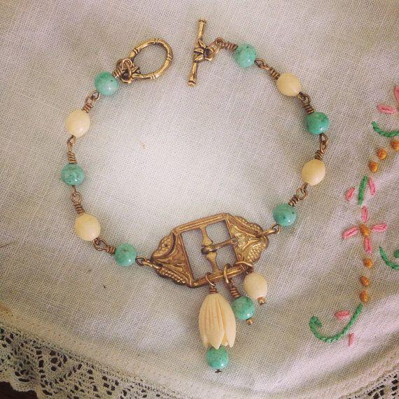 Turquoise and Bakelite Beaded Bracelet/ Vintage Assemblage Jewelry/ Repurposed Antique Belt Buckle Bracelet/ Upcycled Vintage Jewely on Etsy, $50.00