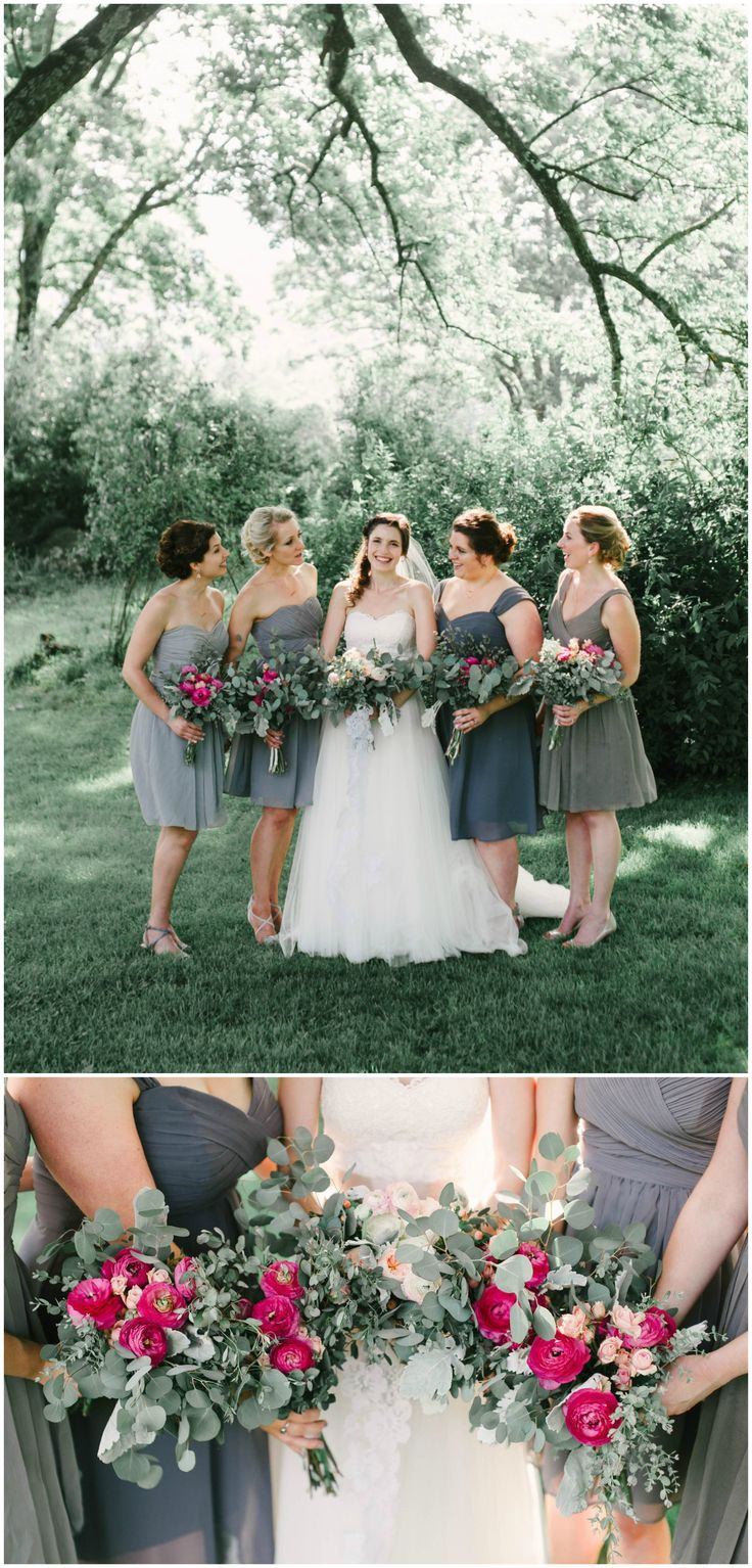 Charcoal grey bridal party, mid-length bridesmaid dresses, leafy bouquets with magenta flowers // Bethany Snyder Photography