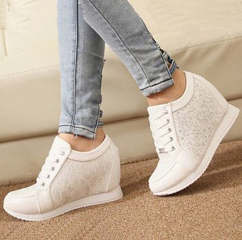 White Fashion Women Wedge Sneakers High Top Casual Womens Floral Shoes Woman Platform Rhinestone Sneaker Zapatillas Mujer