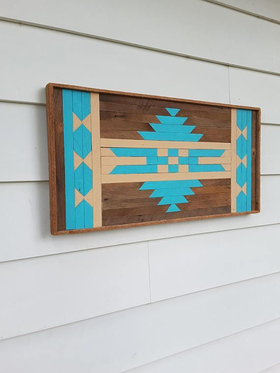Reclaimed Wood Wall Art Geometric Design In Blue Lath Art Rustic Art Ski Lodge Decor Christmas Gift Native Am In 2020 Lath Art Native American Wall Art Ski Lodge Decor