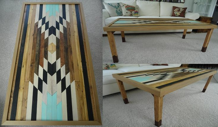 Aztec Style Pallet Wood Coffee Table; 169 pieces of wood total.