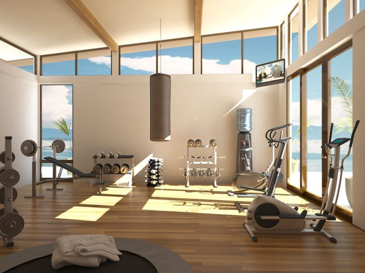 The TV needs to be more visible and I don't need that many weights but I still like this idea for the home gym.