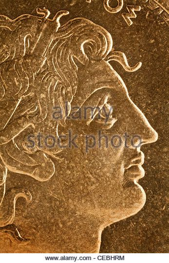 Alexander the Great profile portrait, Greek king of Macedon - magnified detail from old scratched coin - Stock Image