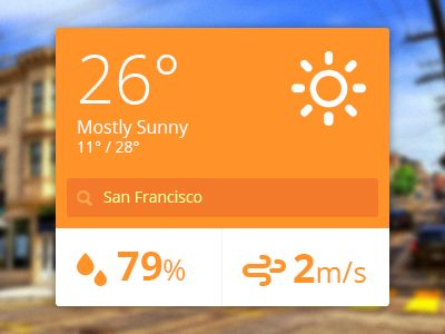 Flat Ui Weather Widget by Ivo Ivanov (Veliko Tarnovo, Bulgaria)