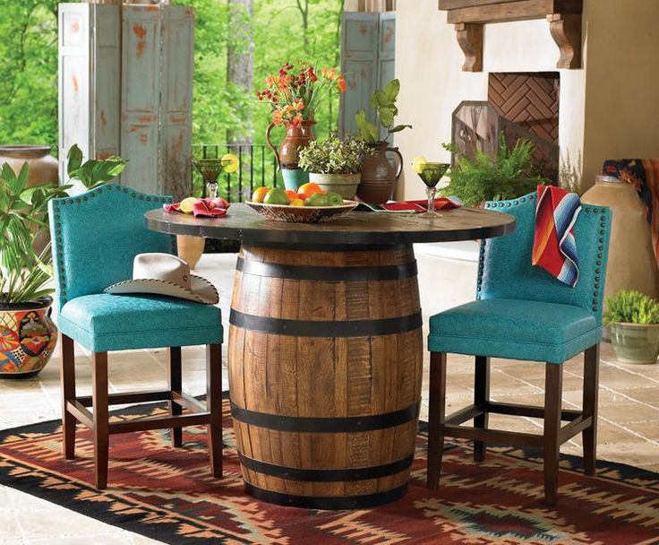 An old barrel, up-cycled into a beautiful rustic table