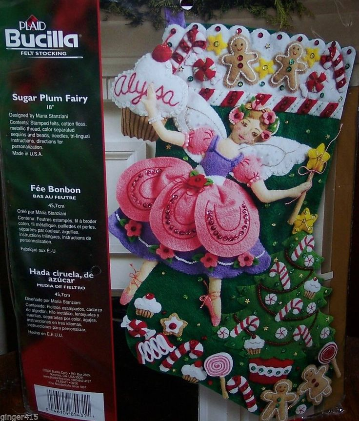 "Bucilla ""SUGAR PLUM FAIRY"" New Felt Christmas Stocking Kit Factory Direct Angel"