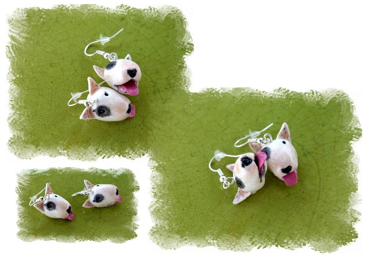 White bullterrier earrings...