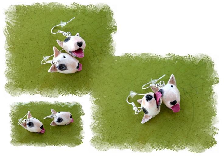 White bullterrier earrings...