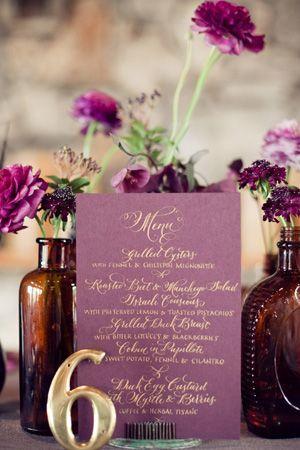 brides of adelaide magazine - burgundy - aubergine - wedding  - bouquet - purple - table number - centrepiece