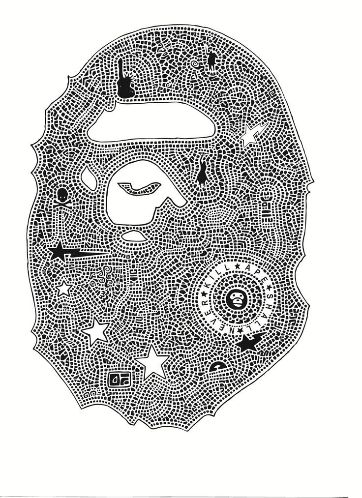 My Interpretation Of The BAPE Logo Hand Drawn Originals Pinterest Logos And Ojays