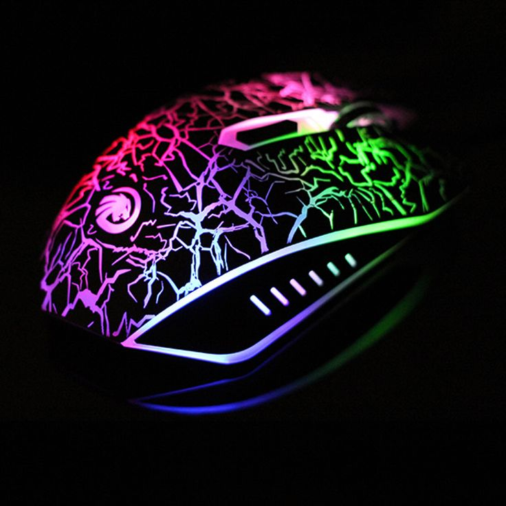 Discount Computer Mouse Fashion Wired Colored Glow Mouse USB Crackle Painted Game Mouse