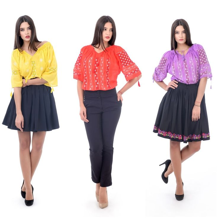 Adauga culoare in garderoba ta si fa alegeri indraznete! #yellowromanianblouse #orangeromanianblouse #purpleromanianblouse