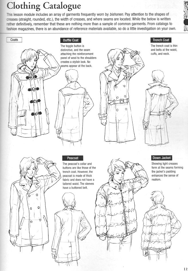 """More clothing drawing guides from Graphic-Sha's """"Drawing Yaoi"""" - coats - 5/5"""
