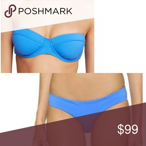 🆕List! Zimmerman Blue Bandeau Bikini Set! NEW! Gorgeous Zimmerman bikini set in luscious blue! 80% nylon/20% spandex. Top is a size 2 A/B cup, bottoms are a size 4. Retails for over $200. Reasonable offers considered. New with or without tags. LC:swbn1/8 Zimmermann Swim Bikinis