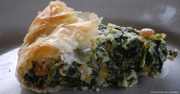 Snelle hartige taart met spinazie en filodeeg van Jamie Oliver - ZEER LEKKER