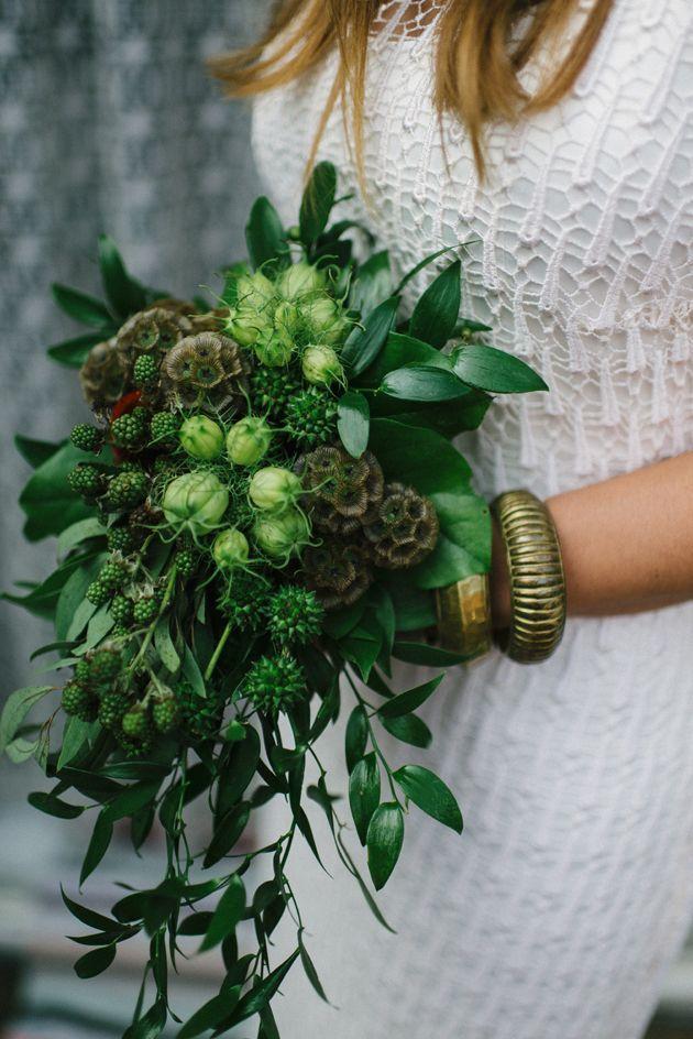 inusual ramo verde de punta de la boda