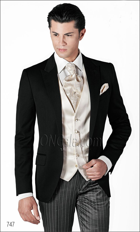 Abito da Sposo con giacca in raso lana nera e gilet in seta bianco