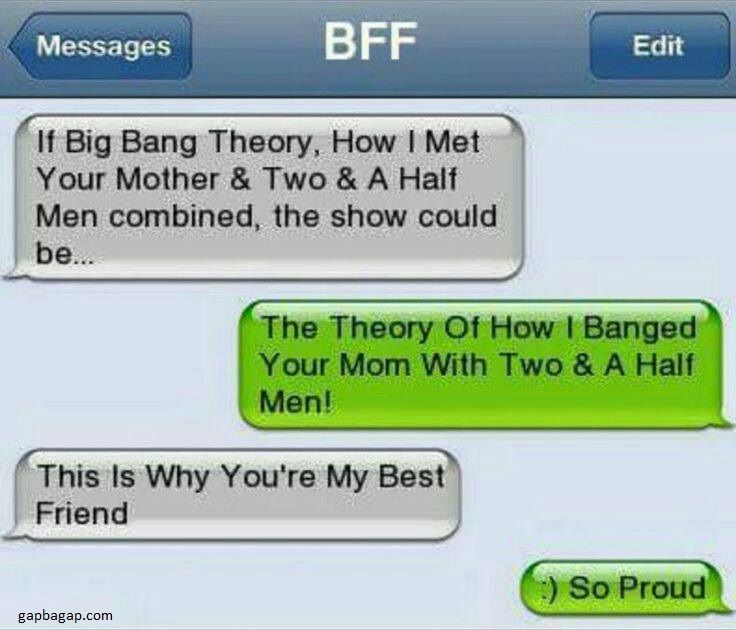 Funny Text About Big Bang Theory vs Two And Ha...