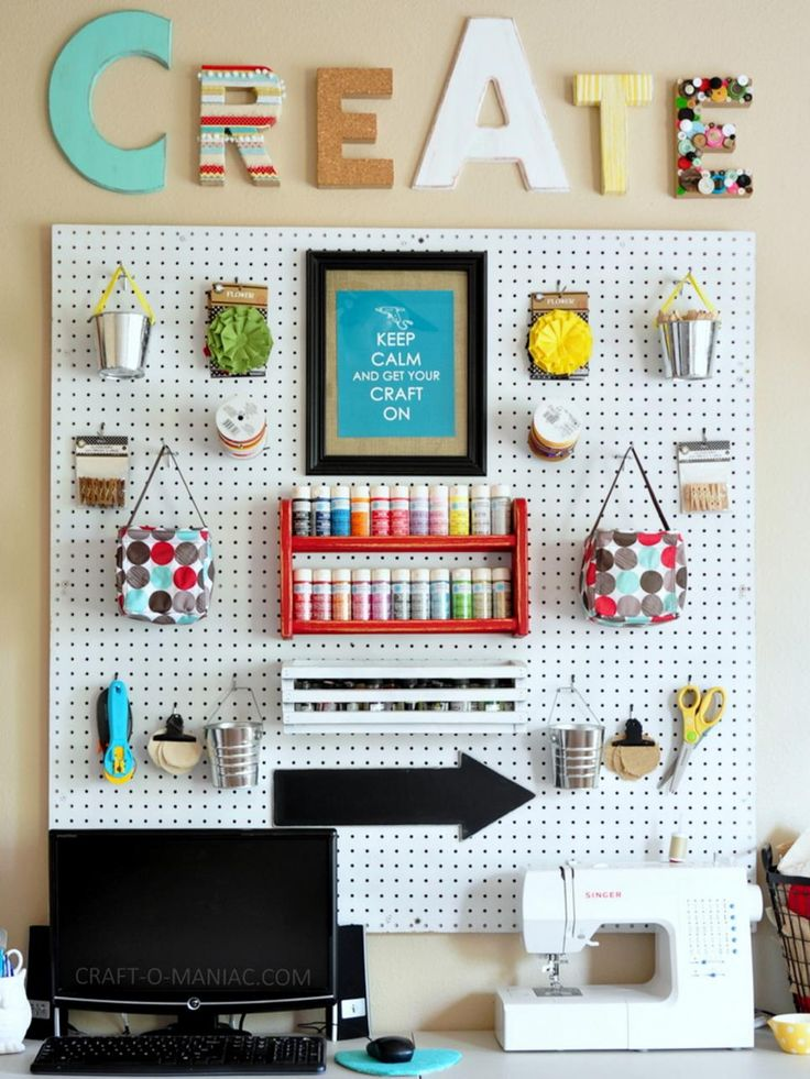 Tempted to fill in every inch of space on your pegboard? Blogger Jennie Larsen of Craft-O-Maniac has styled her pegboard for decor and function. Add artwork, buckets for loose supplies and shelves for added storage with style.