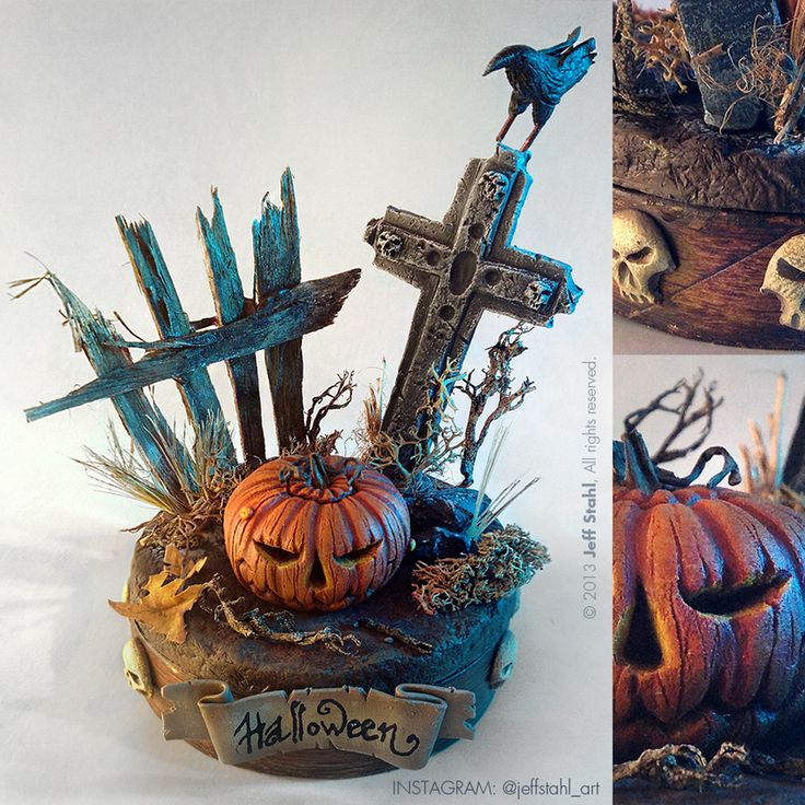Halloween handmade miniature diorama by JeffStahl with link to his tutorial
